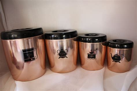 colored kitchen canisters vintage retro canisters copper colored bend