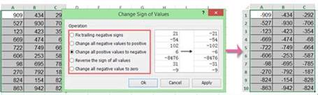 how to change positive numbers to negative in excel