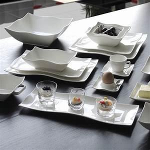 Service Assiette Design : assiettes rectangulaires design blanches 33x21cm bruno evrard ~ Teatrodelosmanantiales.com Idées de Décoration
