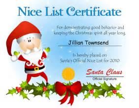 Free Printable Santa Nice List Certificate