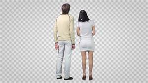 Standing Man & Young Woman Talk Each Other. Back View (on ...