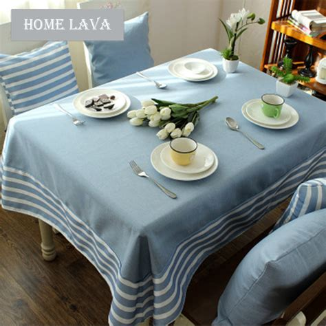 mediterranean blue gray literary tablecloths cotton and linen stitching tablecloths coffee table