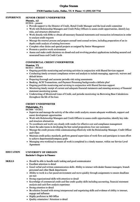 Underwriter Resume by Underwriter Resume Exles