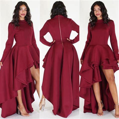 Fashion Women Long Sleeve High Low Peplum Dress Bodycon