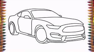 How to draw a car Ford Mustang Shelby GT350 2016 step by step easy for beginners - YouTube