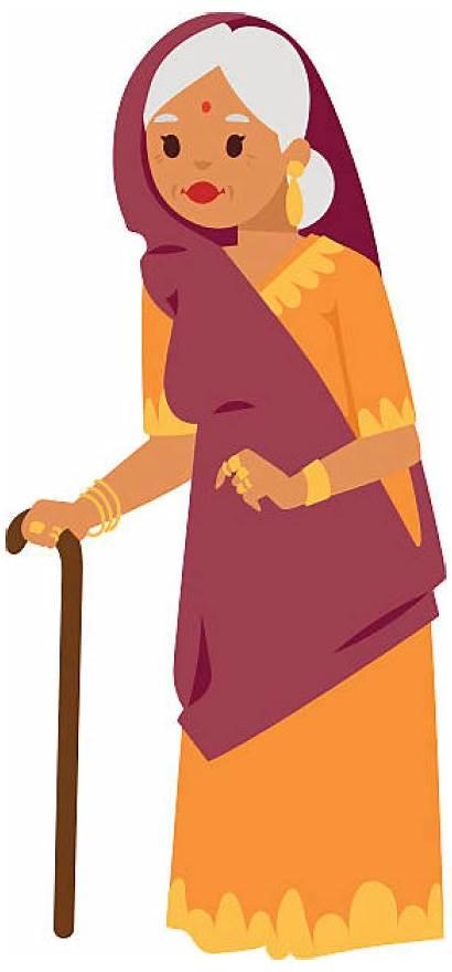 Clipart Saree Woman Grandmother Standing Older Indian