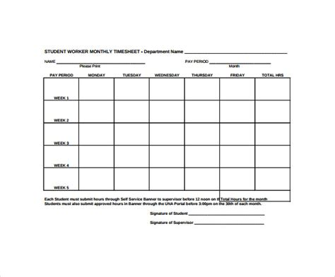 timesheet template students 22 sle monthly timesheet templates to download for free