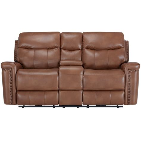 microfiber reclining sofa with console city furniture wallace medium brown microfiber reclining