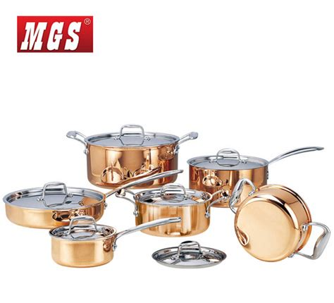 cooking copper pots quality steel stainless stick non frying pan pieces cookware pot sets kf