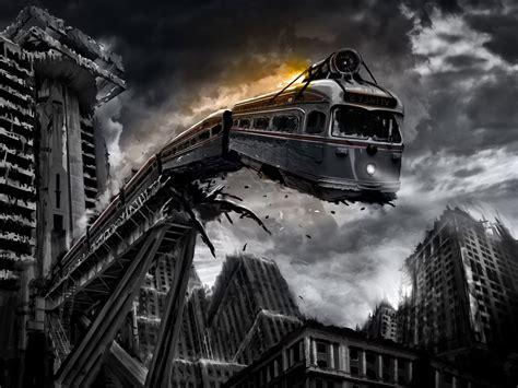 wallpaper digital art cityscape night apocalyptic