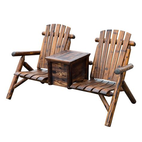 loveseat lawn chair outdoor patio 2 person adirondack wood bench chair