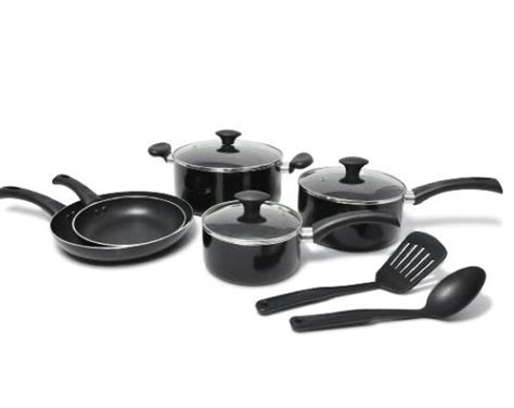 smart shopping momkitchen pro  wearever nonstick cookware set  piece black