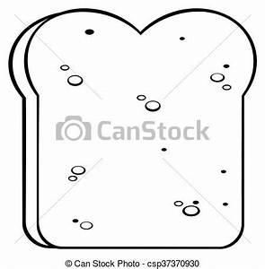 Black and white cartoon bread slice. illustration isolated ...