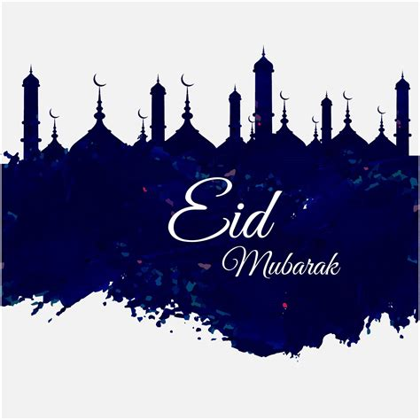 eid mubarak blue design greeting card vectors httpwww