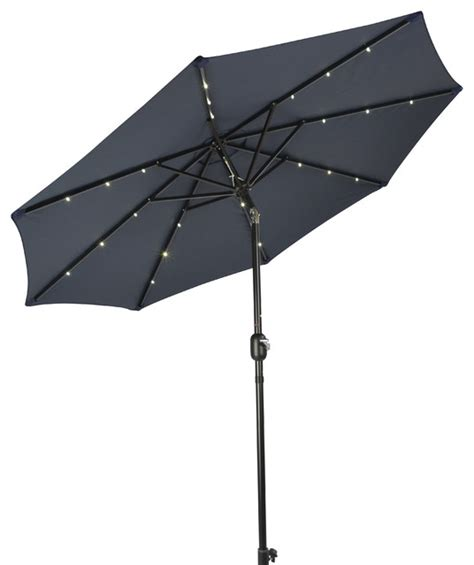 deluxe solar powered led lighted patio umbrella 10 blue