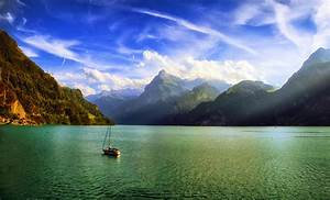 Nature, Landscape, Mountains, Lake, Clouds, Mist, Morning