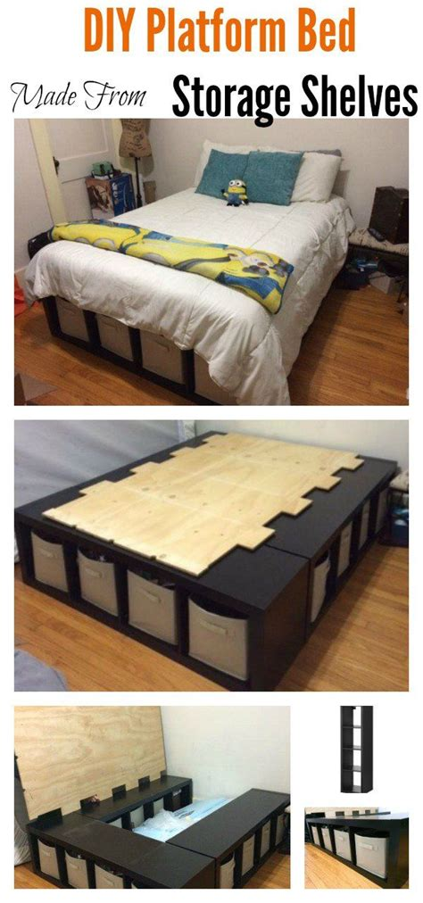 diy platform bed   storage shelves diy platform