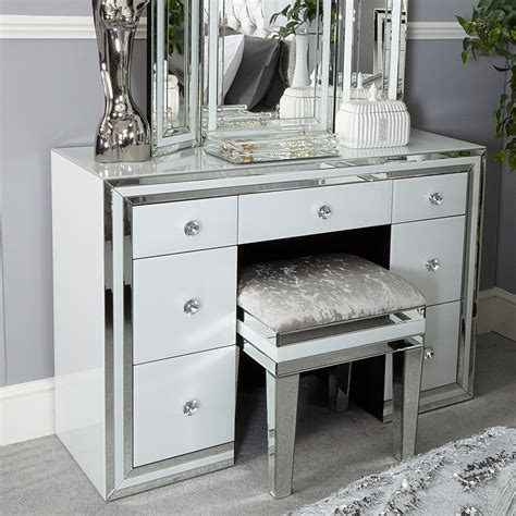 white glass 7 drawer mirrored dressing table