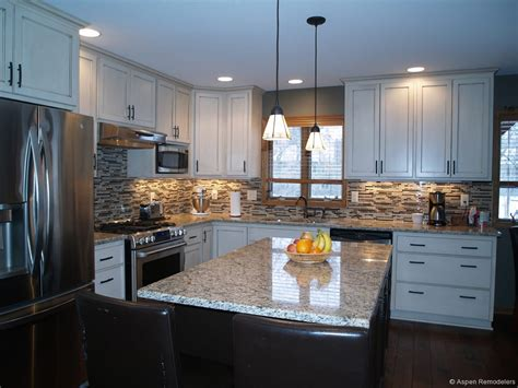 White Cabinets Tile Floor Granite Countertop Most In