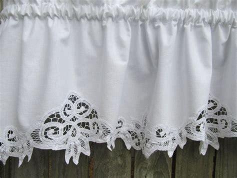 white cotton kitchen curtains country battenburg lace curtain valance in white cotton