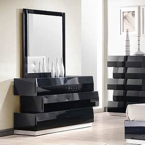 JM Furniture Milan Dresser Mirror In Black Lacquer