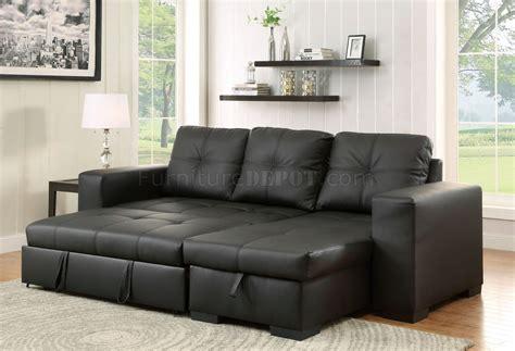 Denton Sectional Sofa Cm6149bk-ltr In Black Leatherette