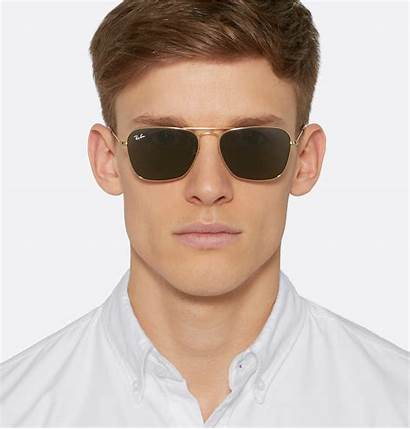 Sunglasses Gold Square Ban Ray Frame Metal