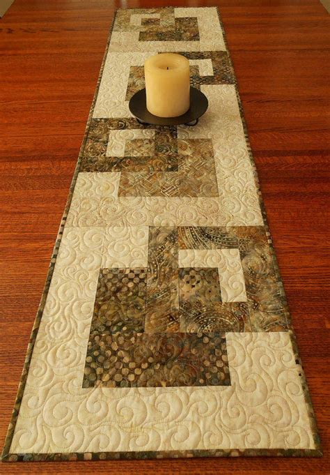 batik table runner in neutral shades of from susiquilts on etsy