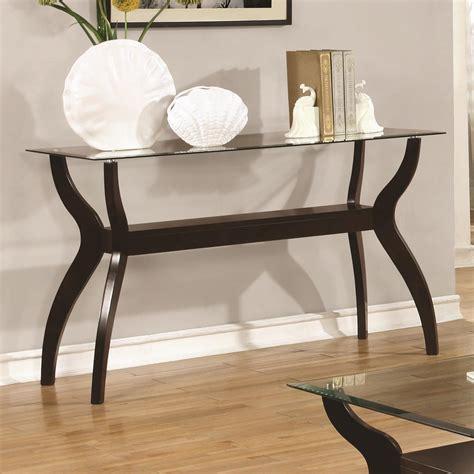Mid Century Modern Sofa Table by Coaster 70462 Mid Century Modern Sofa Table With Glass Top