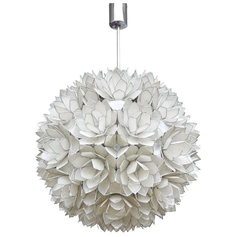 large capiz shell pendant light lotus 1960s for sale