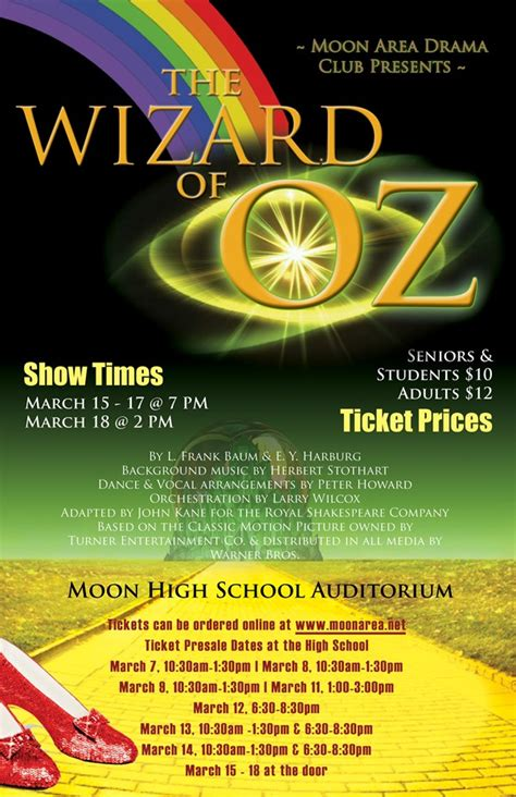 drama club spring musical wizard oz moon area school