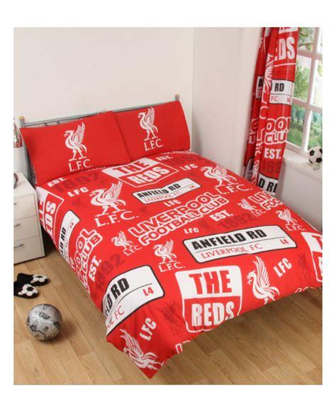 liverpool fc patch double duvet cover  pillowcase set