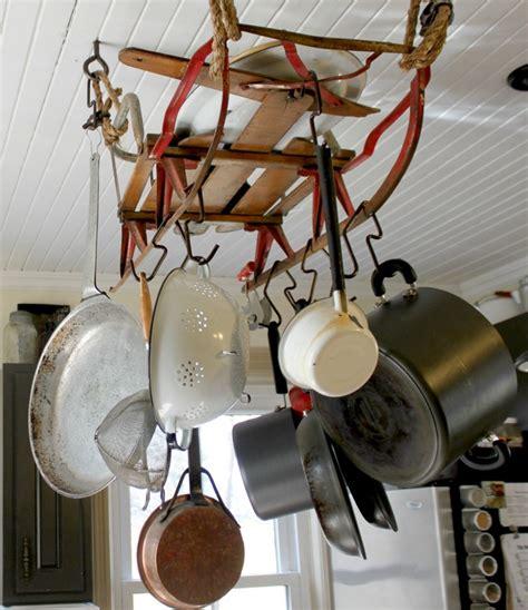 kitchen storage ideas      pot rack