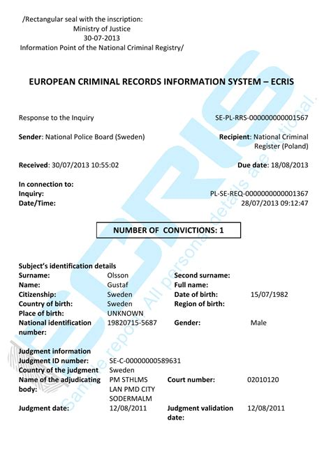 criminal record swedish certificate sample check police report ecris national sweden board
