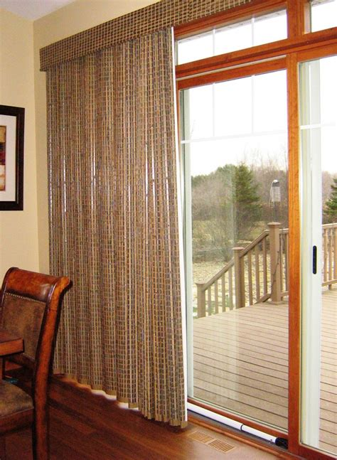 patio door window treatments provenance woven wood