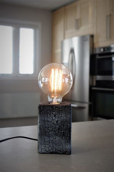Amazing Burned Wood Table Lamp ? iD Lights