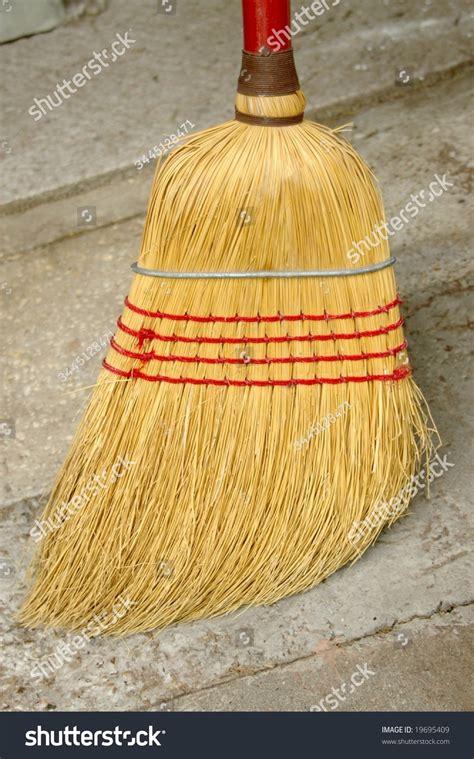 household corn  straw broom stock photo