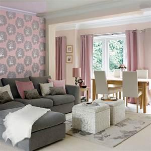 Papier Peint Rose Et Gris : deco rideau salon gris ~ Dailycaller-alerts.com Idées de Décoration