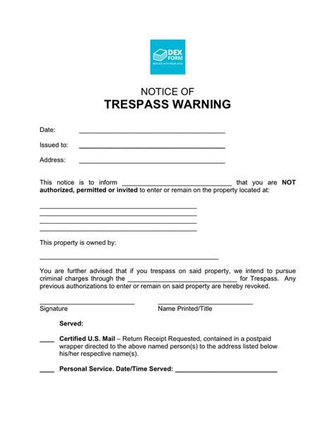 Trespass Notice Template by Notice Of Trespass Warning In Word And Pdf Formats