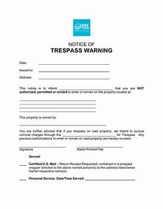 notice of trespass warning in word and pdf formats With trespass notice template