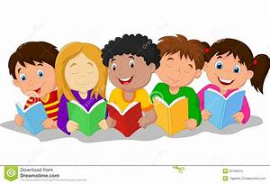 Happy Children Cartoon Lying On The Floor While Reading ...