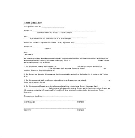 Sublease Agreement Template 10 Sublease Agreement Templates Word Pdf Pages Free