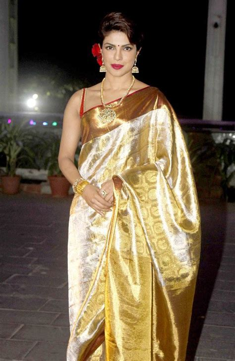 priyanka chopra  golden saree  shirin morani  udhay