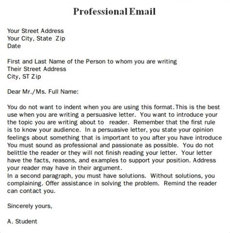 professional email format professional business email format template exle sle