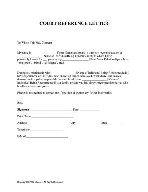 character reference letter  court template