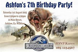 Jurassic Park Invitations Personalised Jurassic World Invitations