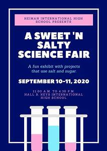Black And Cyan Modern Science Fair Event Poster