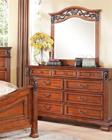 Mirror Finish Dresser by Walnut Finish Dresser W Mirror Manfred By Acme Furniture