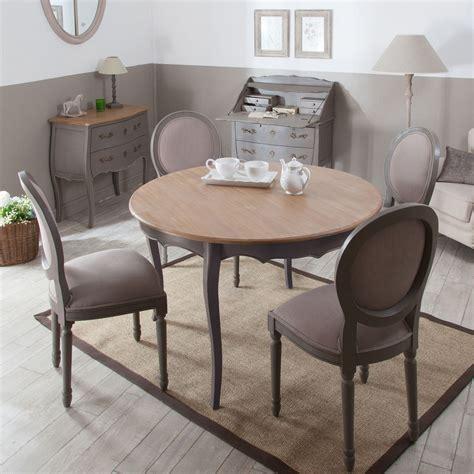 table ronde avec chaise table à manger à rallonge ronde en bois l120cm avec 4