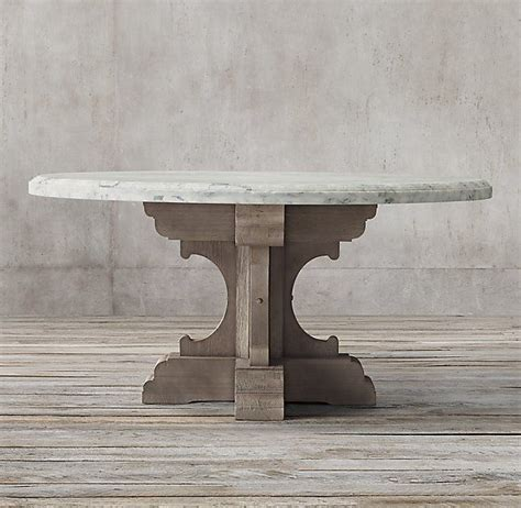 Clad in marble, a tracery of natural veining lends each table unique character, while a low, inset base makes this monumental piece appear to float. 17th C. French Bastide Oak & Marble Round Dining Table | Round dining table, Restoration ...